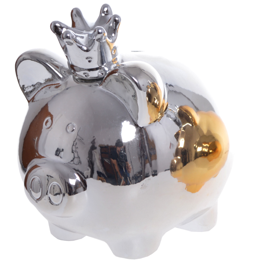 Ceramiczna Srebrna Figurka Skarbonka W Kształcie świnki Dekoracja